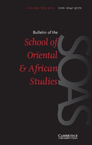 Bulletin of the School of Oriental and African Studies Volume 76 - Issue 3 -