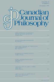 Canadian Journal of Philosophy Volume 25 - Issue 4 -