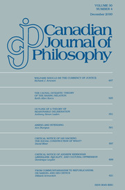 Canadian Journal of Philosophy Volume 30 - Issue 4 -