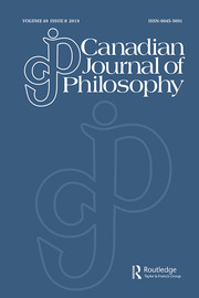 Canadian Journal of Philosophy Volume 49 - Issue 8 -