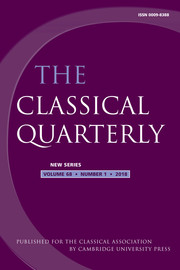 The Classical Quarterly Volume 68 - Issue 1 -