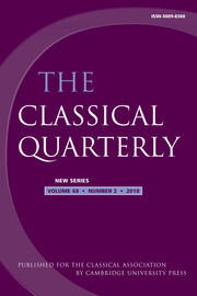 The Classical Quarterly Volume 68 - Issue 2 -