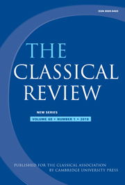 The Classical Review Volume 60 - Issue 1 -