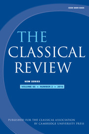 The Classical Review Volume 66 - Issue 2 -