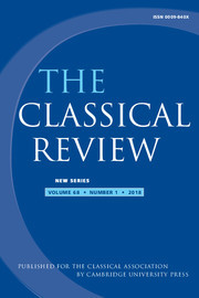The Classical Review Volume 68 - Issue 1 -