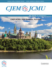 Canadian Journal of Emergency Medicine Volume 22 - SupplementS1 -