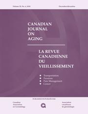 Canadian Journal on Aging / La Revue canadienne du vieillissement Volume 29 - Issue 4 -