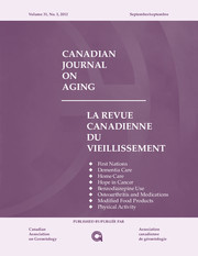 Canadian Journal on Aging / La Revue canadienne du vieillissement Volume 31 - Issue 3 -