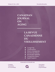 Canadian Journal on Aging / La Revue canadienne du vieillissement Volume 33 - Issue 4 -  Special Issue on Aging Families