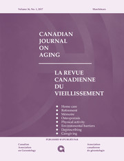 Canadian Journal on Aging / La Revue canadienne du vieillissement Volume 36 - Issue 1 -