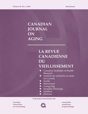 Canadian Journal on Aging / La Revue canadienne du vieillissement Volume 38 - Issue 1 -