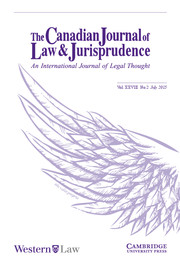 Canadian Journal of Law & Jurisprudence Volume 28 - Issue 2 -