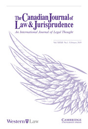 Canadian Journal of Law & Jurisprudence Volume 32 - Issue 1 -