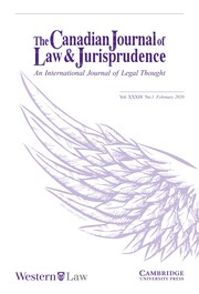 Canadian Journal of Law & Jurisprudence Volume 33 - Issue 1 -