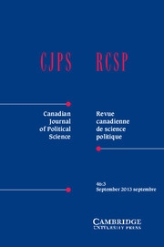 Canadian Journal of Political Science/Revue canadienne de science politique Volume 46 - Issue 3 -