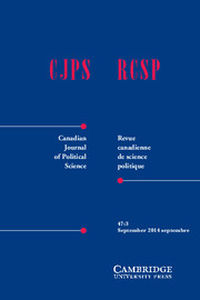 Canadian Journal of Political Science/Revue canadienne de science politique Volume 47 - Issue 3 -