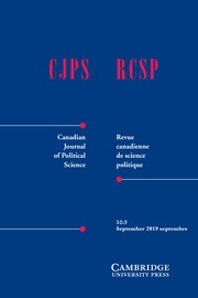 Canadian Journal of Political Science/Revue canadienne de science politique Volume 52 - Issue 3 -