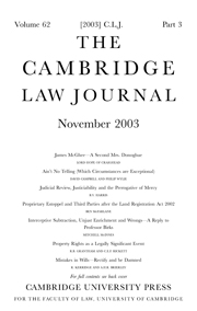 The Cambridge Law Journal Volume 63 - Issue 2 -