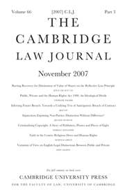 The Cambridge Law Journal Volume 66 - Issue 3 -