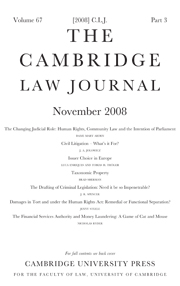 The Cambridge Law Journal Volume 67 - Issue 3 -