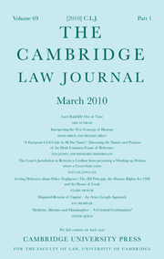 The Cambridge Law Journal Volume 69 - Issue 1 -