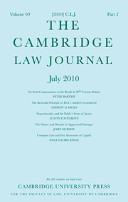 The Cambridge Law Journal Volume 69 - Issue 2 -
