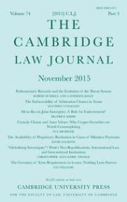 The Cambridge Law Journal Volume 74 - Issue 3 -