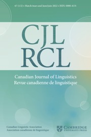 Canadian Journal of Linguistics/Revue canadienne de linguistique