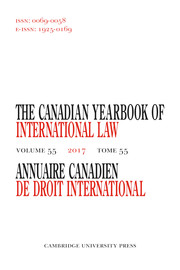 Canadian Yearbook of International Law/Annuaire canadien de droit international Volume 55 - Issue  -