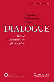Dialogue: Canadian Philosophical Review / Revue canadienne de philosophie Volume 49 - Issue 2 -