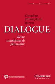 Dialogue: Canadian Philosophical Review / Revue canadienne de philosophie Volume 50 - Issue 1 -
