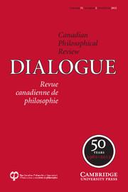 Dialogue: Canadian Philosophical Review / Revue canadienne de philosophie Volume 51 - Issue 2 -