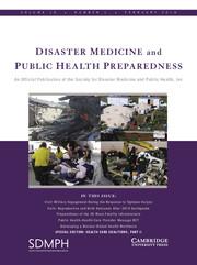 Disaster Medicine and Public Health Preparedness Volume 10 - Issue 1 -