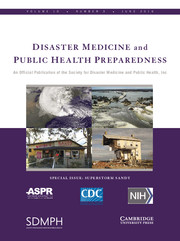 Disaster Medicine and Public Health Preparedness Volume 10 - Special Issue3 -  Superstorm Sandy