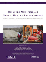 Disaster Medicine and Public Health Preparedness Volume 10 - Issue 6 -
