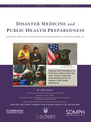Disaster Medicine and Public Health Preparedness Volume 11 - Issue 1 -