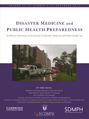 Disaster Medicine and Public Health Preparedness Volume 11 - Issue 6 -