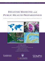Disaster Medicine and Public Health Preparedness Volume 12 - Issue 5 -
