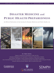 Disaster Medicine and Public Health Preparedness Volume 12 - Issue 6 -