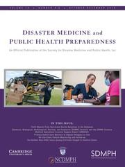 Disaster Medicine and Public Health Preparedness Volume 13 - Issue 5-6 -