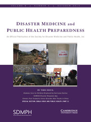 Disaster Medicine and Public Health Preparedness Volume 9 - Issue 5 -