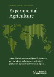 Experimental Agriculture Volume 40 - Issue 1 -