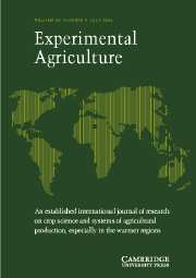 Experimental Agriculture Volume 40 - Issue 3 -