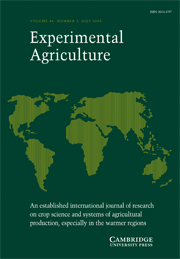 Experimental Agriculture Volume 44 - Issue 3 -