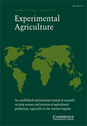 Experimental Agriculture Volume 44 - Issue 4 -