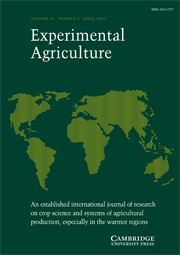 Experimental Agriculture Volume 45 - Issue 2 -