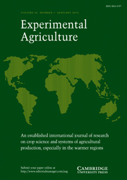 Experimental Agriculture Volume 46 - Issue 1 -