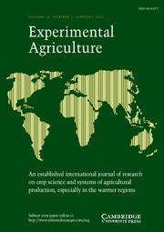 Experimental Agriculture Volume 49 - Issue 1 -