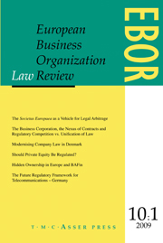 European Business Organization Law Review (EBOR) Volume 10 - Issue 1 -