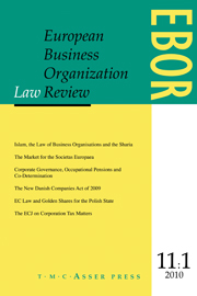 European Business Organization Law Review (EBOR) Volume 11 - Issue 1 -
